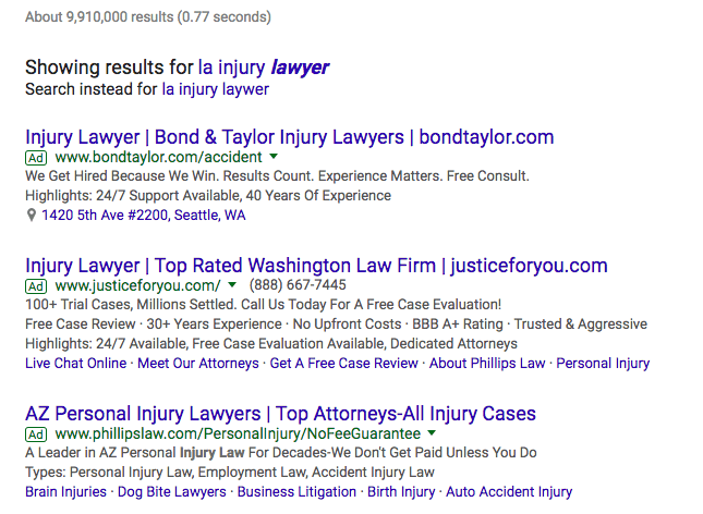 """LA injury lawyer"" Google Results"