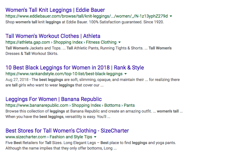 "Google search results for ""leggings"""