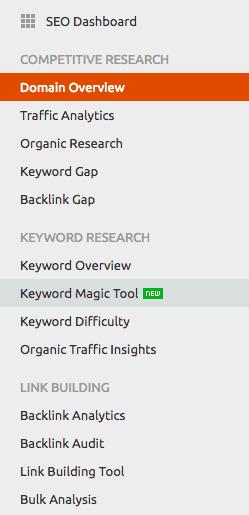 SEMRush Keyword Magic toolbar