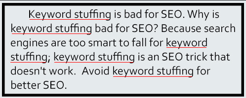Screenshot example of keyword stuffing in a short paragraph.