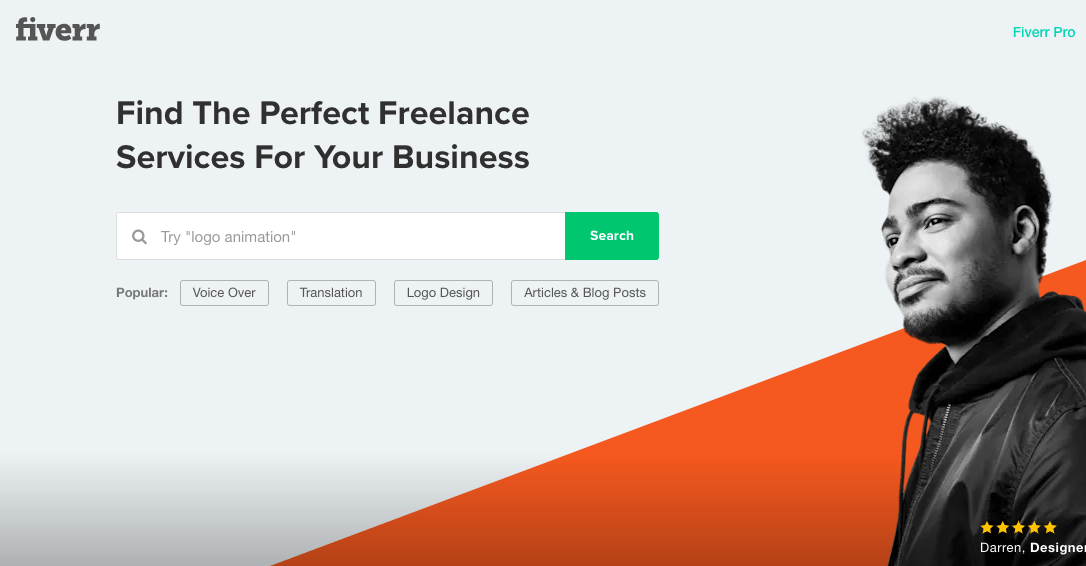 Screenshot of Fiverr Home Page
