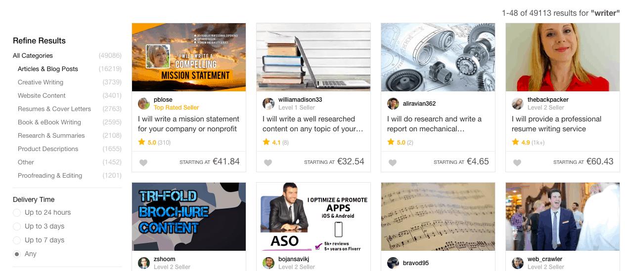 "Screenshot of Fiverr ""Writer"" Results"