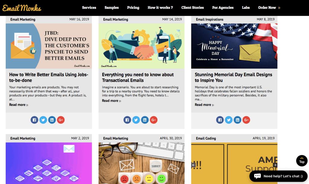 Screenshot of EmailMonks blog posts