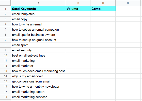 Seed keyword list in Google Sheets