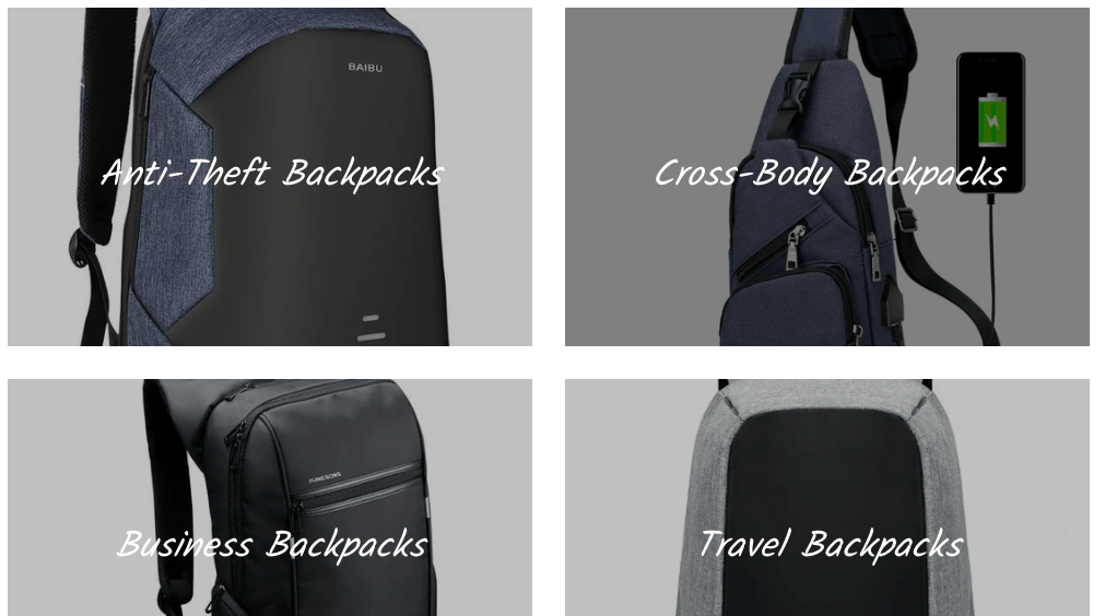 "Screenshot from competitor's site selling ""anti-theft backpacks"""