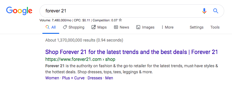 "Google search for ""Forever 21"""