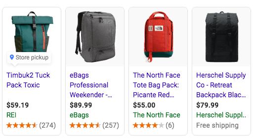 "Screenshot of ""travel backpack"" images"