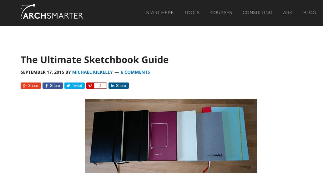 "Screenshot of ""The Ultimate Sketchbook Guide"" blog post"