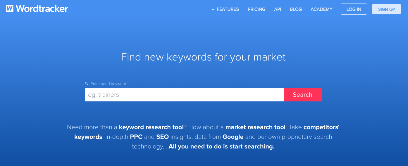 Screenshot of Wordtracker keyword tool search page