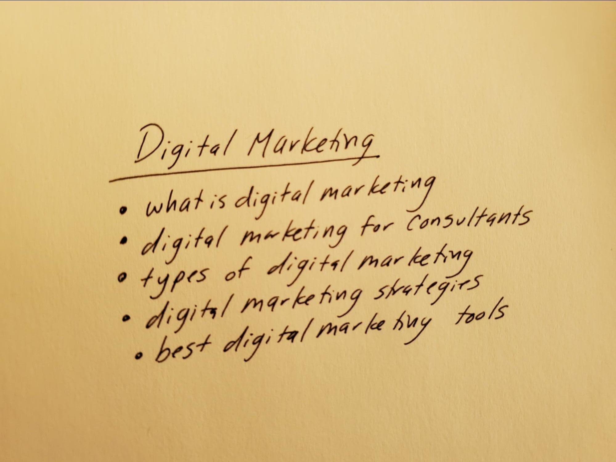 Digital marketing keyword list written on scratch paper