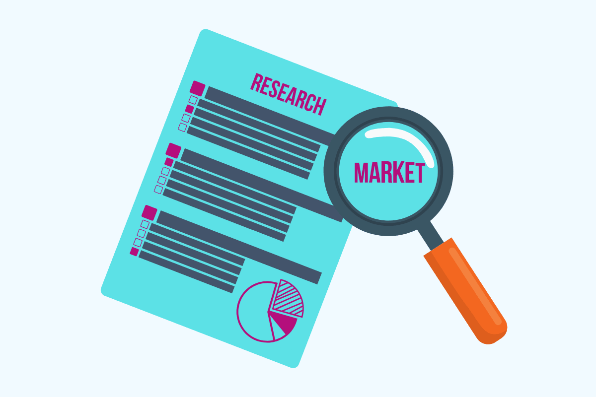 Market research survey with magnifying glass
