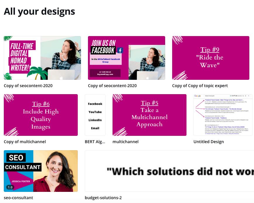 Screenshot of various Canva design for keysandcopy.com