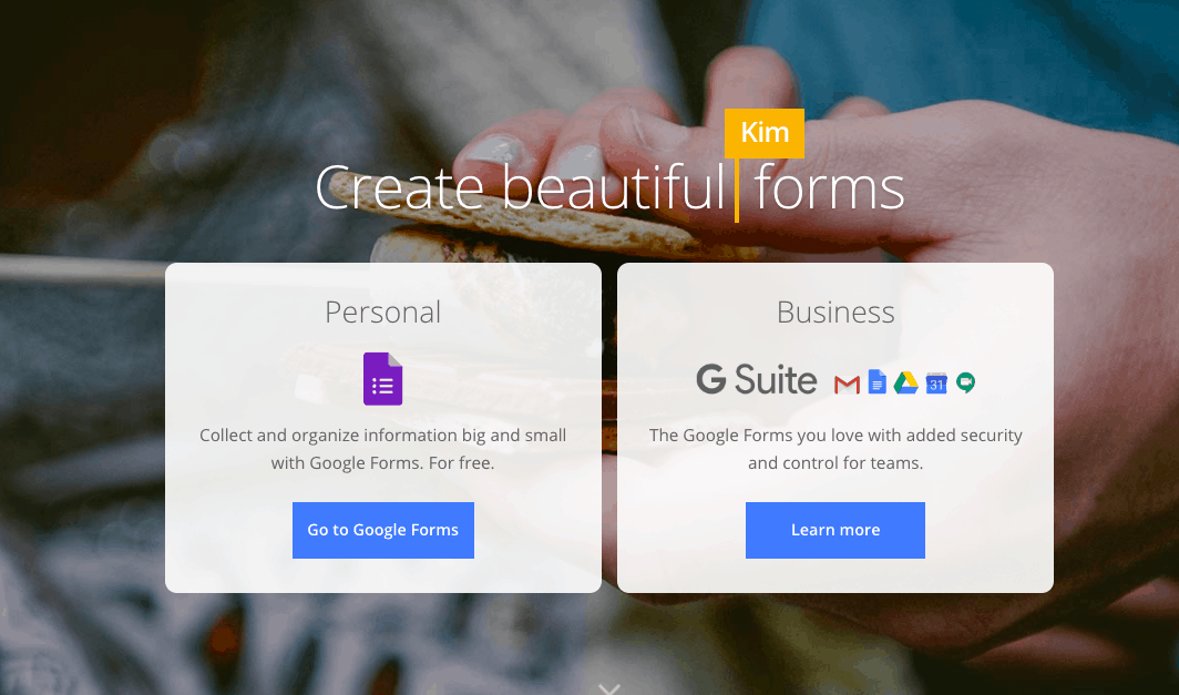 Google Forms main page