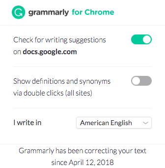 Grammarly app Chrome features