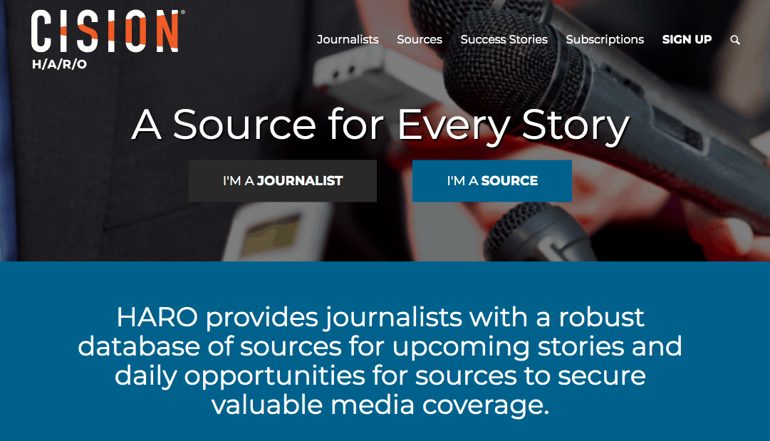 HARO homepage for journalists