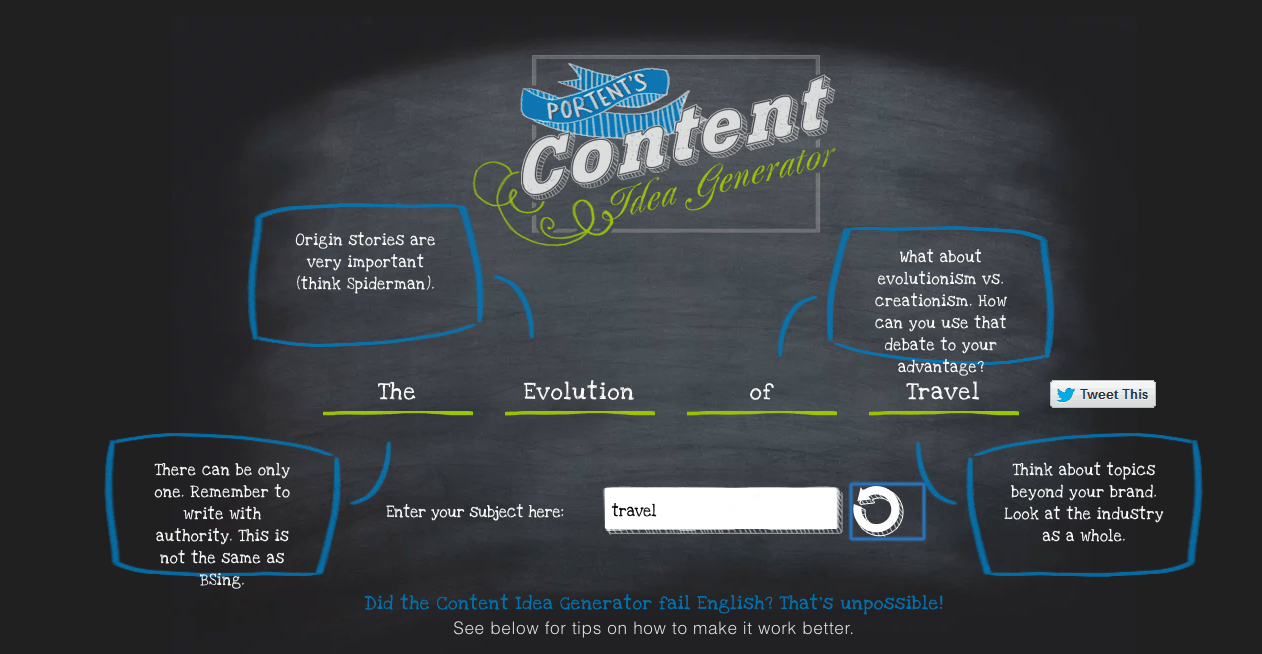 Portent's Content Idea Generator tool