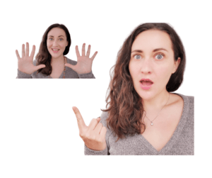 Two photos of Jessica Foster; backgrounds removed in Canva