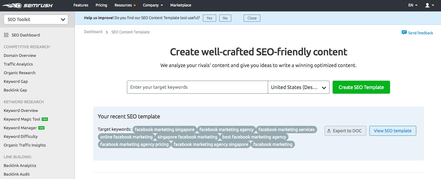 SEMrush content optimization tool