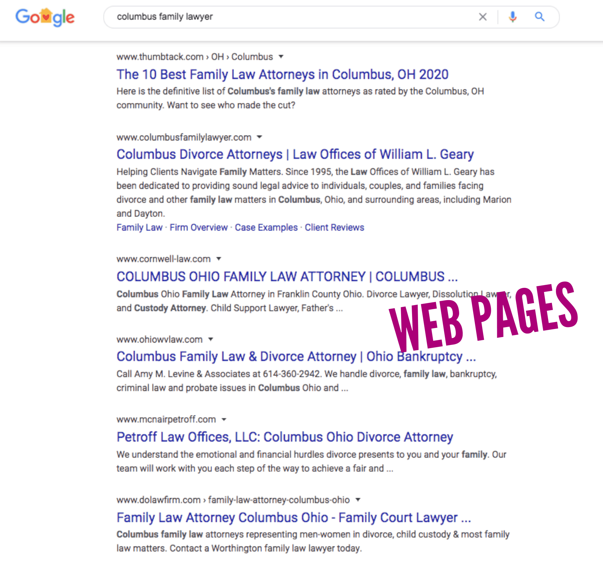 "SERPs for ""columbus family lawyer"""