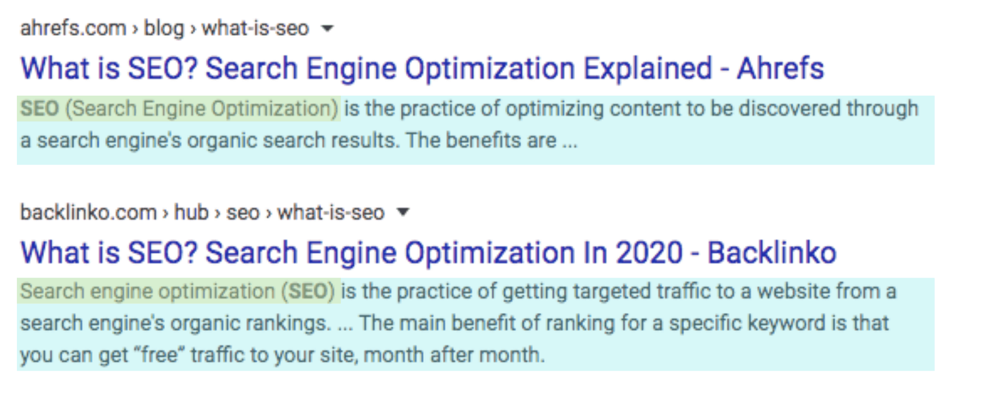 Screenshot example of meta descriptions in the SERPs