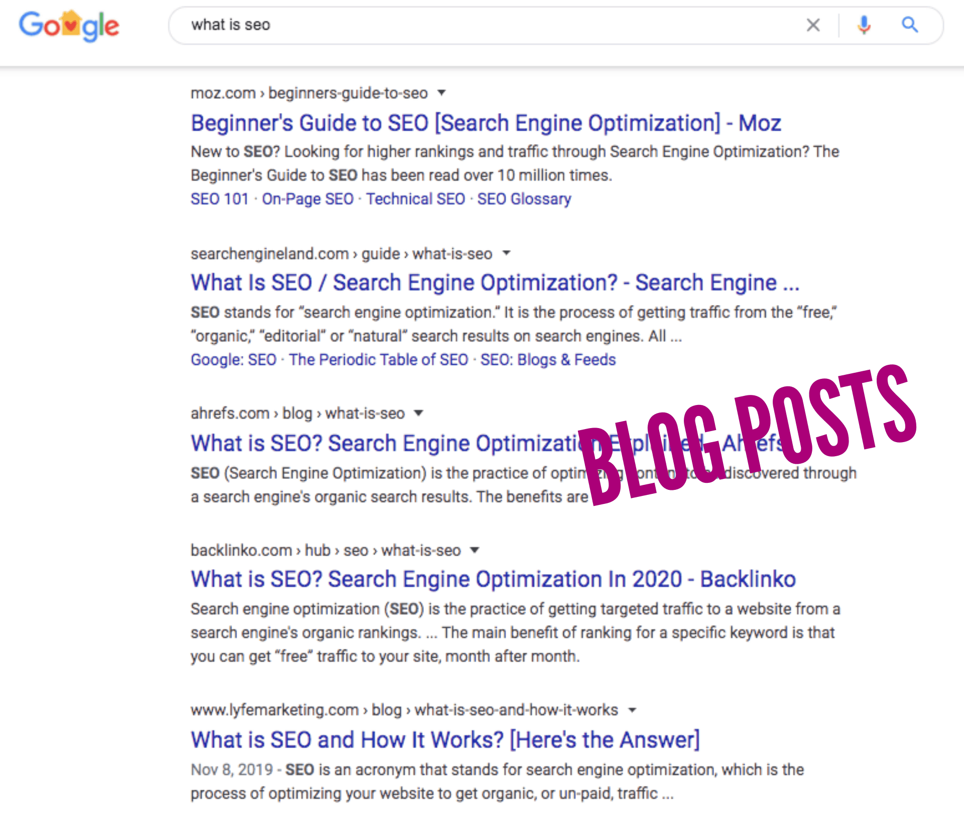 "SERPs for ""what is seo"""