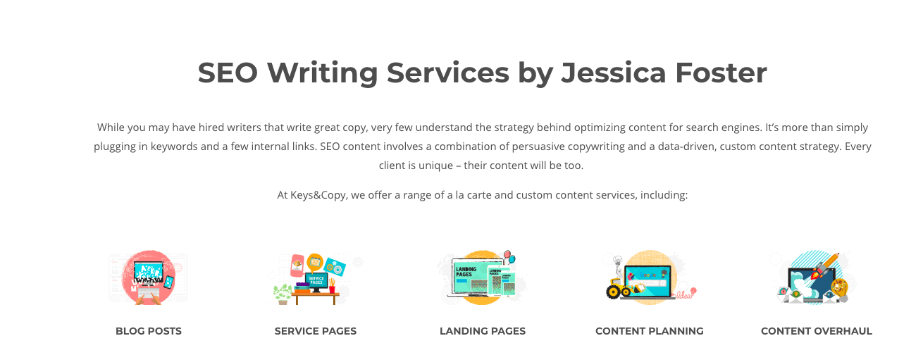 Keys&Copy SEO writing services page