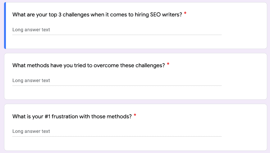 Survey questions via Google Forms