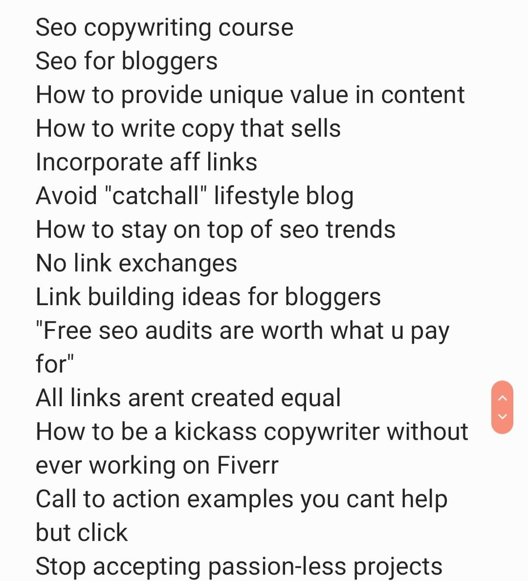 List of Keys&Copy blog post ideas