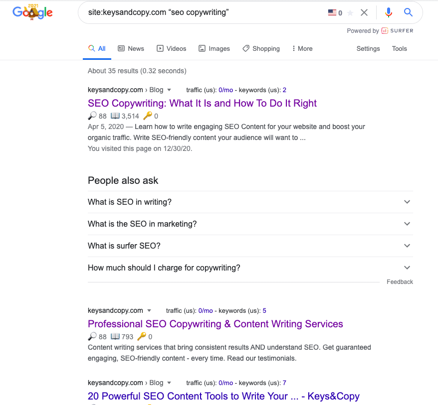 Google site search for Keysandcopy.com