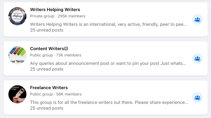 Screenshot of top SEO writer Facebook Groups