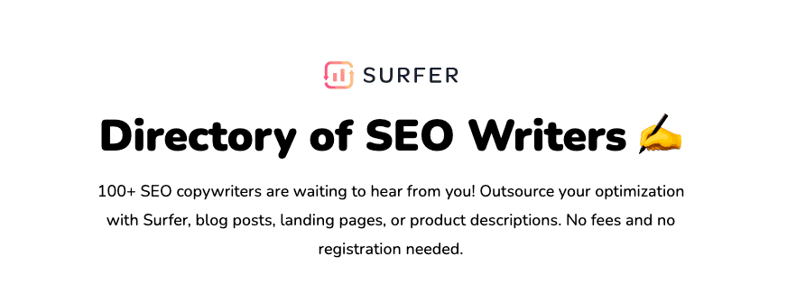 Surfer SEO's writer directory